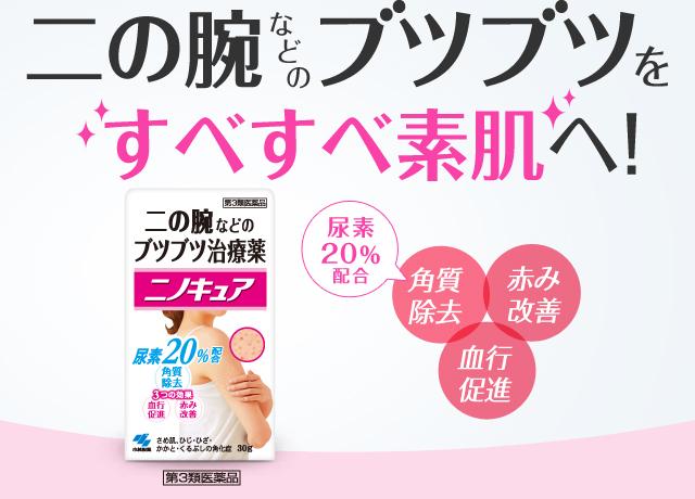 二の腕などのブツブツをすべすべ素肌へ! 角質除去(尿素20%配合)・血行促進・赤み改善 ニノキュア